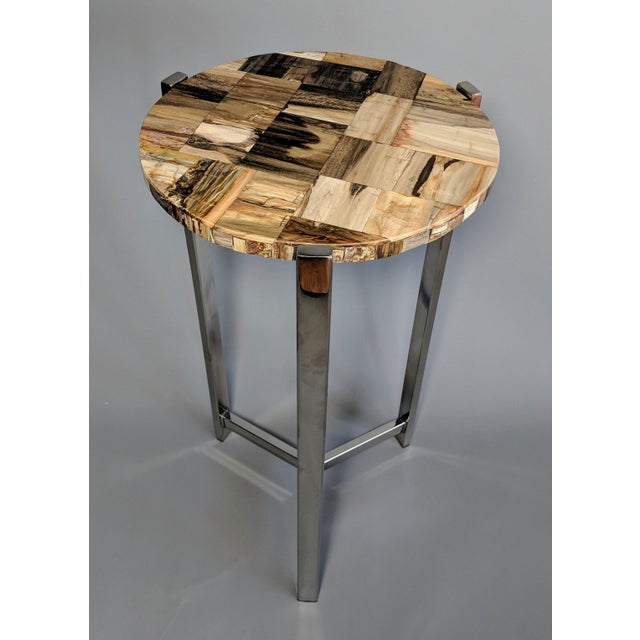 Chrome Organic Modern Petrified Wood and Chrome Side Table For Sale - Image 7 of 13