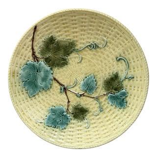 Majolica Vine Leaves Plate Sarreguemines, Circa 1890 For Sale