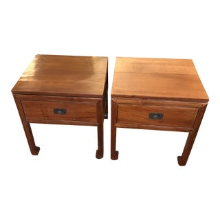 Balinese Teak Wood End Tables - Set of 2 For Sale