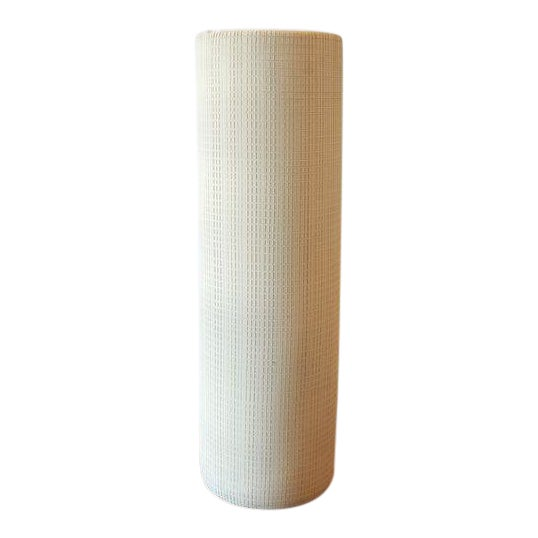 Hand Textured Grid Patterned Tall Studio Pottery Ceramic Vessel For Sale