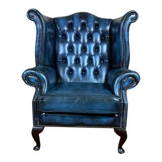 Vintage English Mid-Century Blue Leather Chesterfield Wingback Chair For Sale