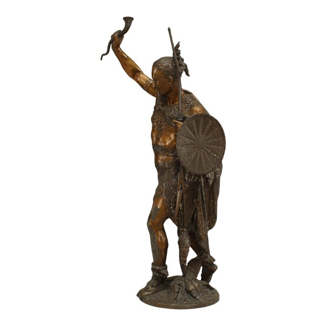 Turn of the Century Lacquered American Indian Warrior Sculpture For Sale