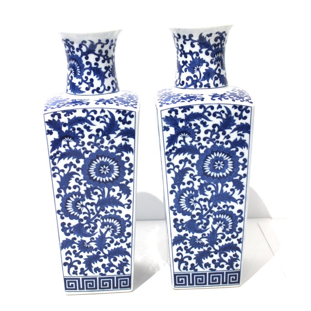 Asian Vintage Blue & White Silk Road Style Vases - a Pair For Sale - Image 3 of 9