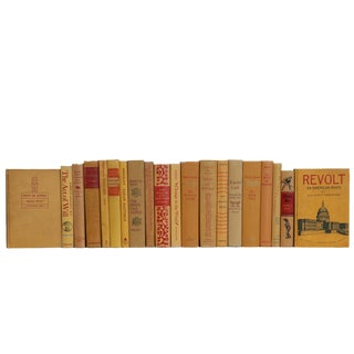 Vintage Gold and Crimson Book Set, (S/20) For Sale