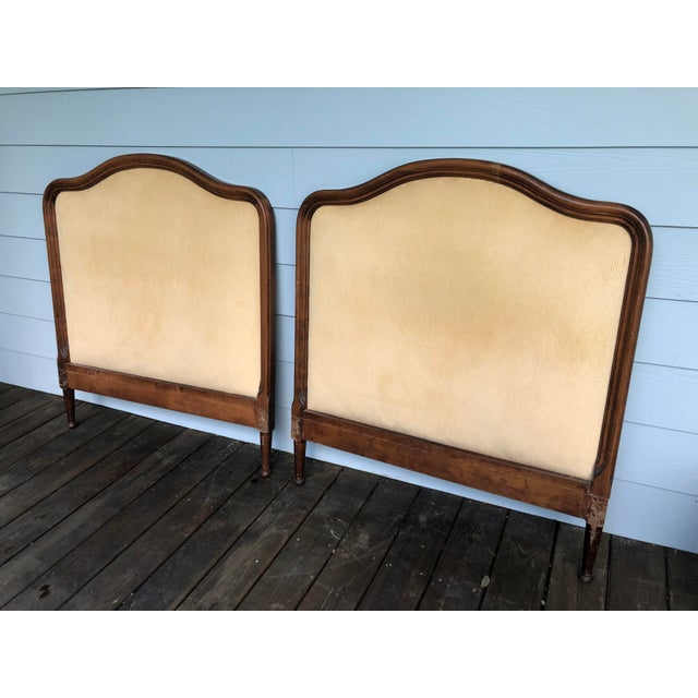 1950s 1950s French Twin Headboards Upholstered in Corded Gold Velvet - a Pair For Sale - Image 5 of 10