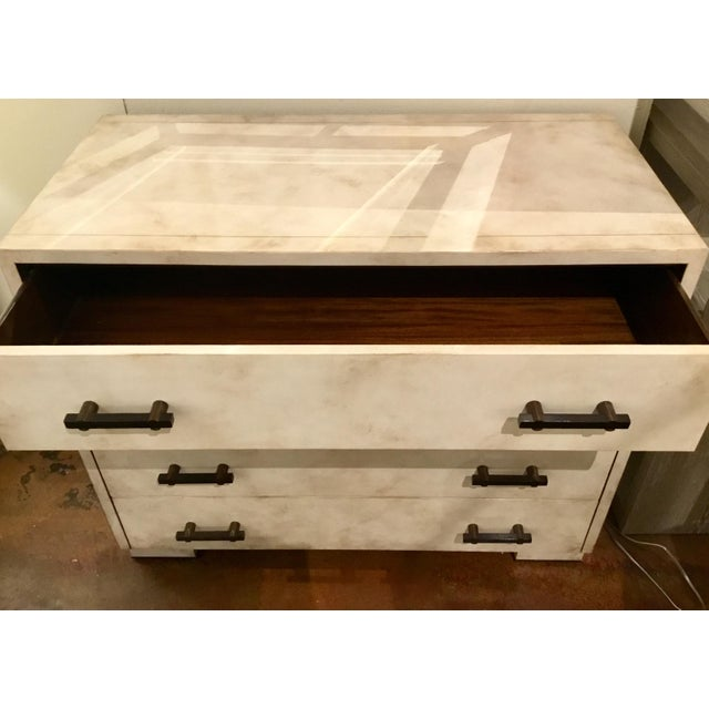 Modern Henredon Acquisitions Modern Off-White Leather Chest of Drawers For Sale - Image 3 of 6