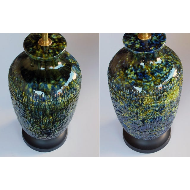 A Massive and Richly-Colored Pair of American 1960's Ceramic Lamps With Blue, Green and Yellow Drip Glaze For Sale In San Francisco - Image 6 of 8