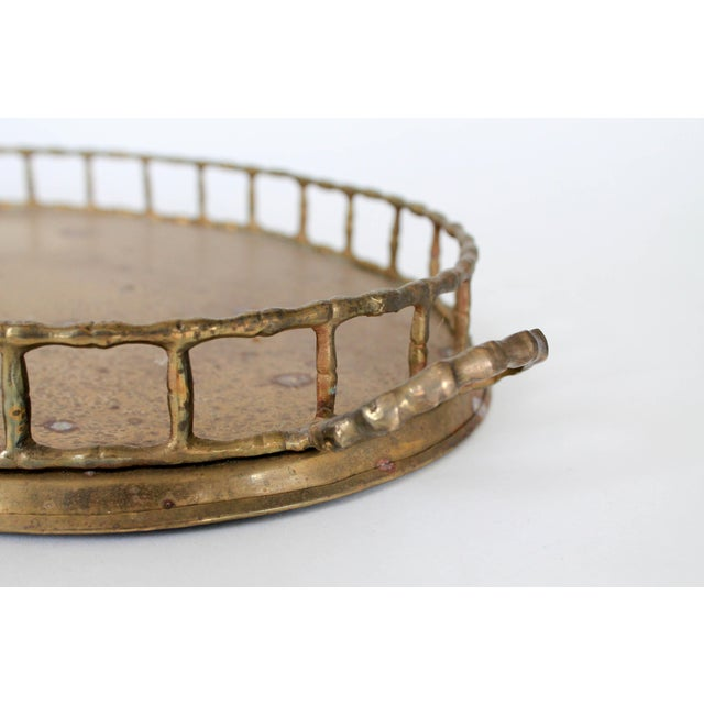 Asian Faux Bamboo Brass Tray For Sale - Image 3 of 6