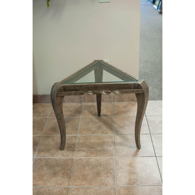 Triangular Khaki Gold Metal Side Table & Glass Top - Image 3 of 6