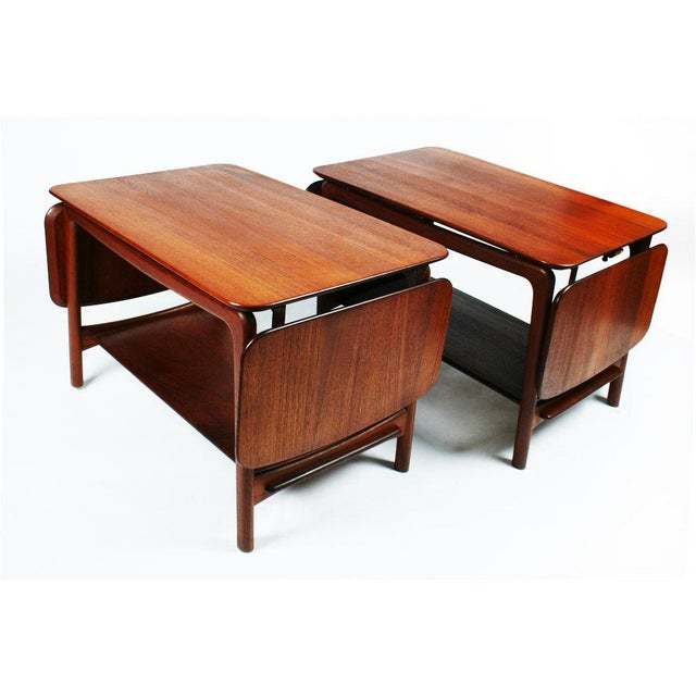 Danish Modern Pair of Drop Leaf Side Tables by Peter Hvidt For Sale - Image 3 of 10