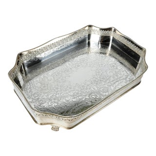 Silver Plate Eight Sided Footed Tray For Sale