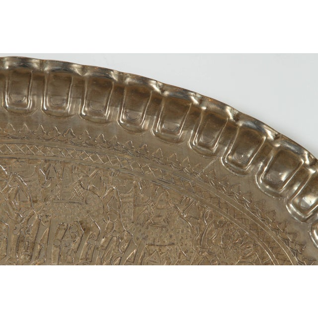 Antique Persian Wall Hanging Silvered Tray For Sale - Image 4 of 8