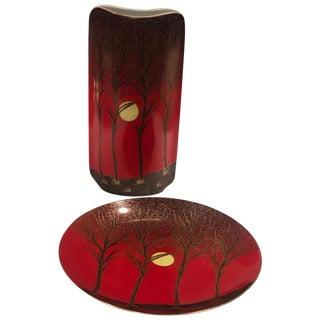 German Vintage Royal Porcelain Baravia Hand Painted Porcelain Vase and Dish For Sale