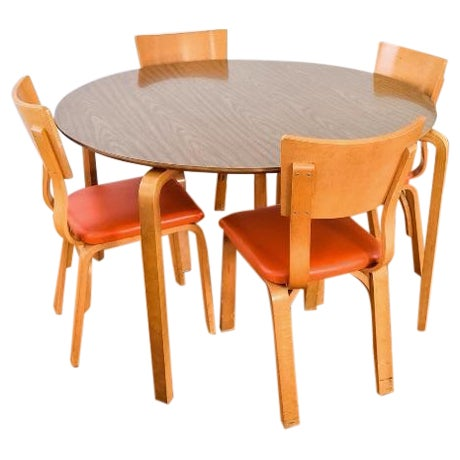 Mid-Century Thonet Bentwood Table & Chairs For Sale