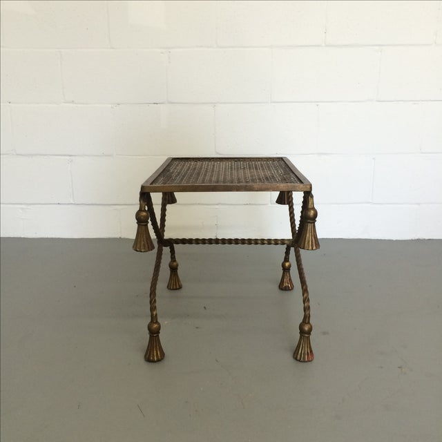 Vintage Gilt Metal Rope Bench - Image 6 of 6