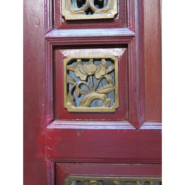 Antique Chinese Hand Carved Wooden Doors - a Pair For Sale - Image 4 of 11