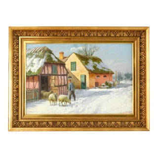 Vintage Winter Scene Painting by George Skodstrup For Sale