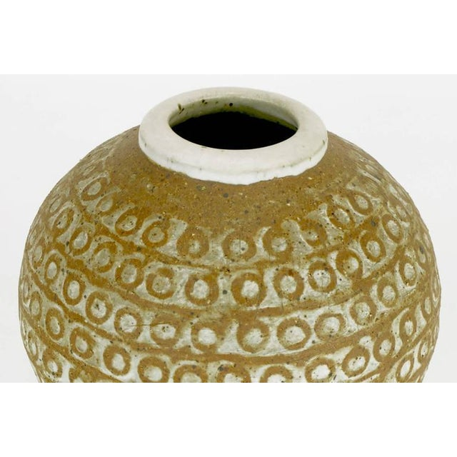 Relief Patterned Earthen Pottery Vase by Tomiya Matsuda - Image 4 of 8