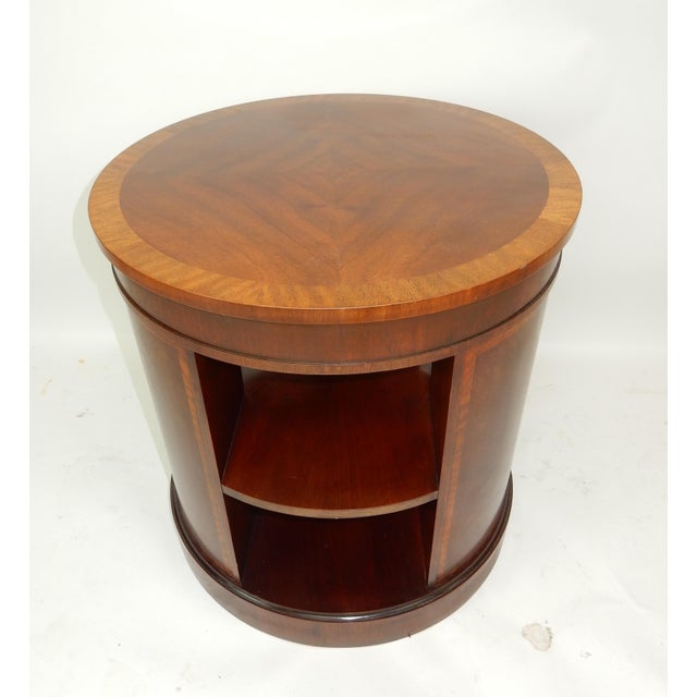 Baker Furniture Inlaid Banded Mahogany Drum Shaped Book Case For Sale - Image 9 of 13
