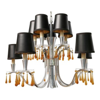 Mid-Century Modern Feldman Murano Crystals and Lucite Bobeches Chandelier For Sale