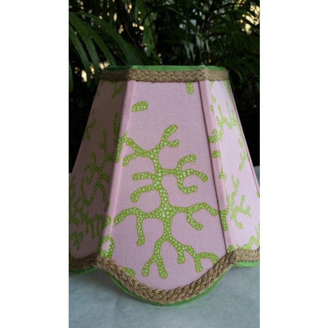 Lee Jofa Lampshade Pink Green Tropical Lilly Pulitzer Fabric For Sale - Image 4 of 11