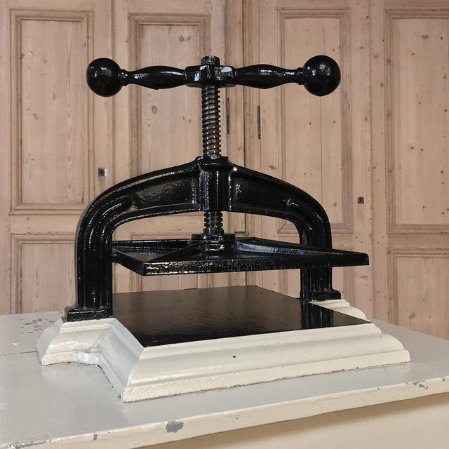 Cast Iron 19th Century Cast Iron Paper Press on Painted Stand For Sale - Image 7 of 11