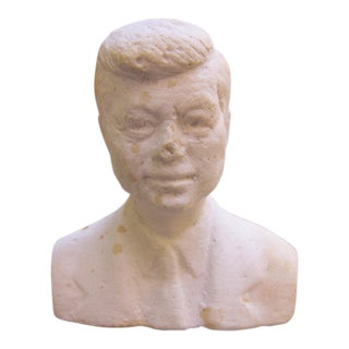 1960s Vintage John F Kennedy Plaster Bust Figurine For Sale