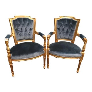 French Louis XVI Velvet Tufted Arm Chairs - A Pair For Sale