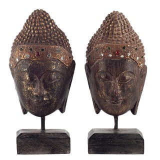 Golden Wooden Buddha Heads on Stands - A Pair For Sale