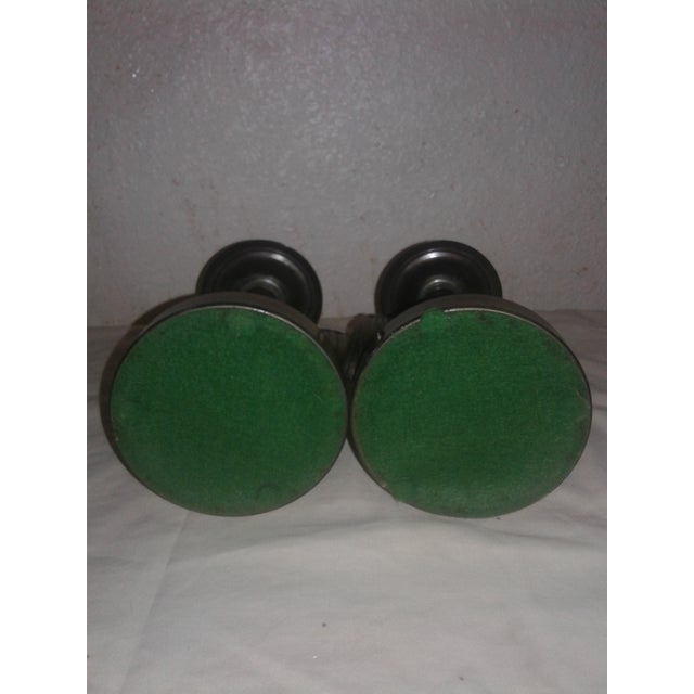 Art Deco Art Deco Brass and Wood Candle Stick Holders - A Pair For Sale - Image 3 of 6