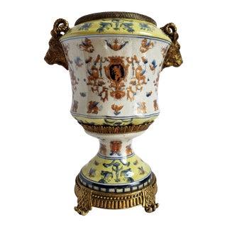 Vintage French Handpainted Porcelain Urn For Sale