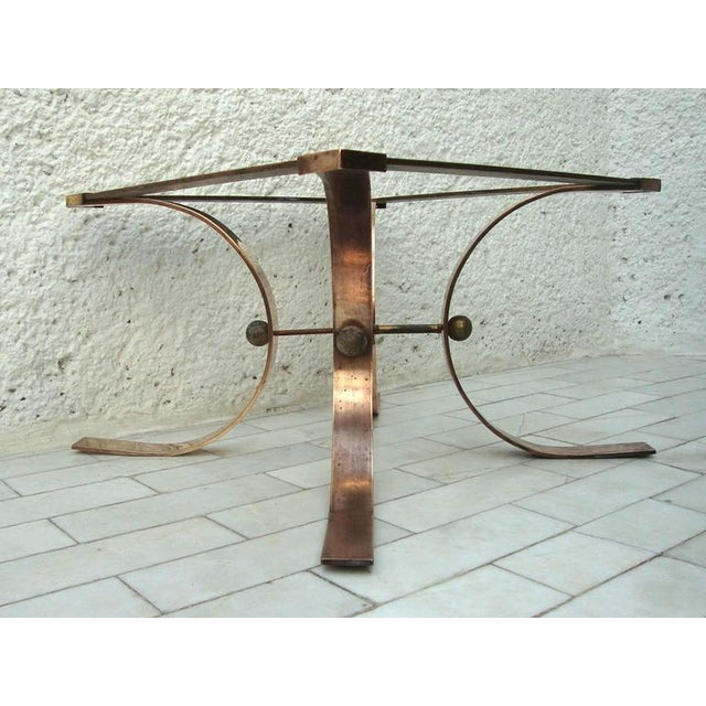 For your consideration a side table in solid brass attributed to Arturo Pani. Four legs in semicircle are connected with...