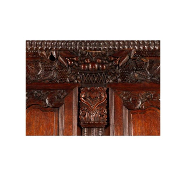 Carved Oak French Armoire - Image 5 of 6