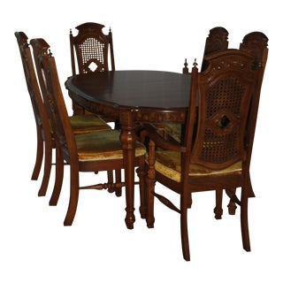 Vintage Dining Room Table & Chairs - Set of 7