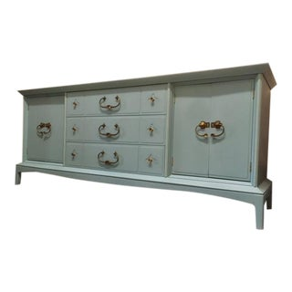 Hand Painted Sky Blue Wood Buffet / Credenza