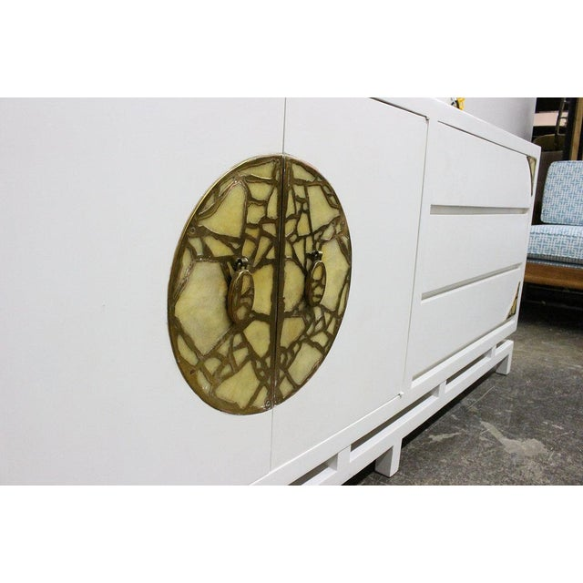 Mid 20th Century Lacquered Credenza/Dresser by Frank Kyle With Pepe Mendoza Hardware For Sale - Image 5 of 9