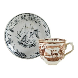 Mismatched Aesthetic Movement Transferware Cup & Saucer - A Pair