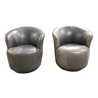 1980 Modern Grey Leather Swivel Barrel Chairs - a Pair For Sale