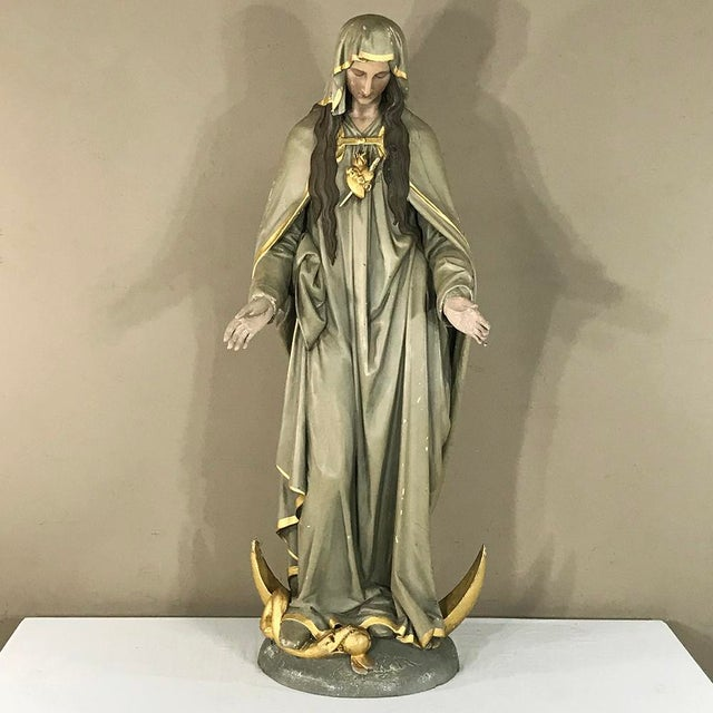 19th Century Hand-Painted Polychrome Madonna For Sale - Image 12 of 12