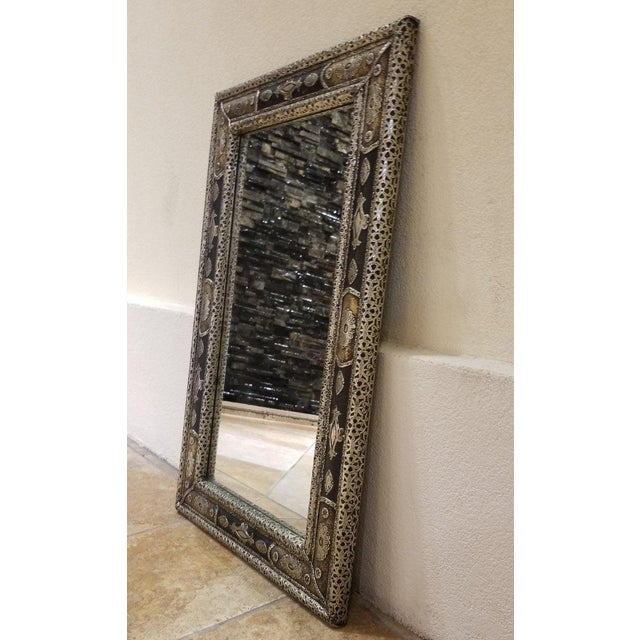 2010s Moroccan Rectangular Metal Inlaid Mirror For Sale - Image 5 of 8