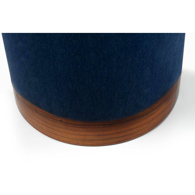 Contemporary Modern Indigo Mohair and Rosewood Plinth Ottoman Stools- A Pair For Sale - Image 3 of 5