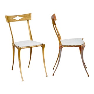 Mid Century Palladio Gilt Aluminum Sculpted Chairs- a Pair For Sale