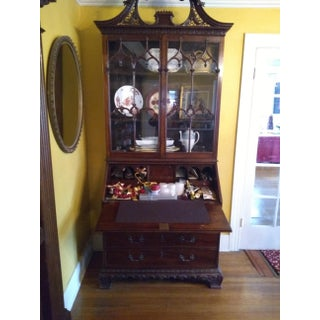 19th Century American Carved Mahogany Slant Front Secretary Bookcase Preview