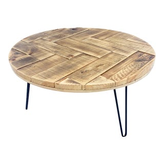 Mid-Century Modern Round Herringbone Recycled Coffee Table For Sale