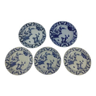 Creil Et Montereau Blue and White Transferware in Japon Pattern - Set of 5 For Sale
