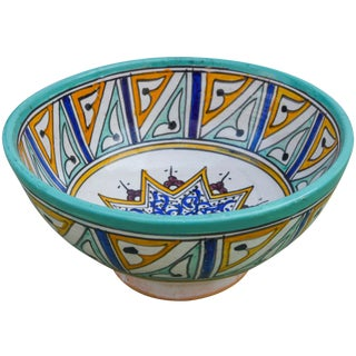 Handmade Moroccan Bowl W/ Arabesque For Sale