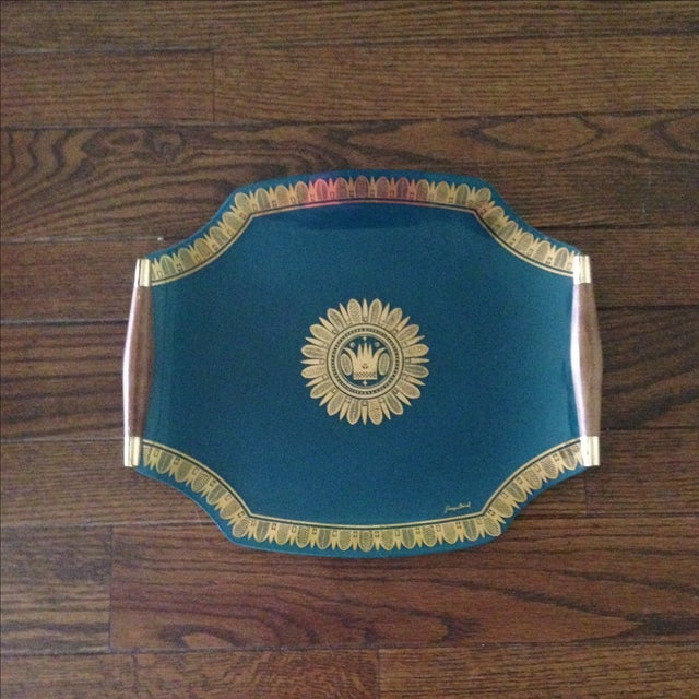 Hollywood Regency Vintage Georges Briard Glass Serving Tray For Sale - Image 3 of 11