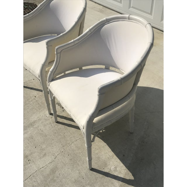 Cotton 1970s Vintage Faux Bamboo Upholstered Chairs - a Pair For Sale - Image 7 of 12