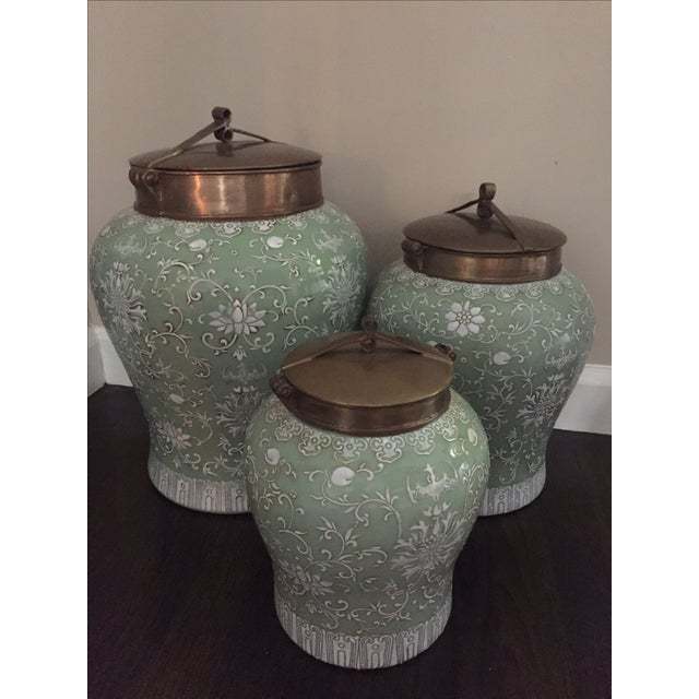 Green & White Floral Tozai Jars - Set of 3 - Image 2 of 3