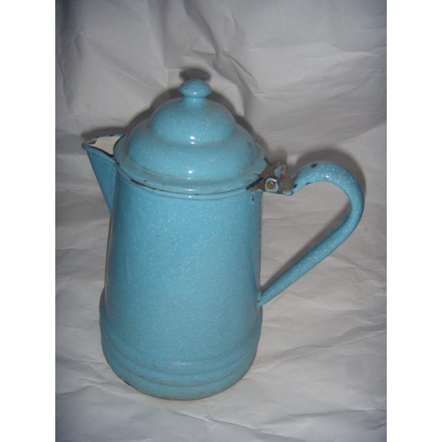 Rustic Country Blue Enamel Pitcher - Image 2 of 5